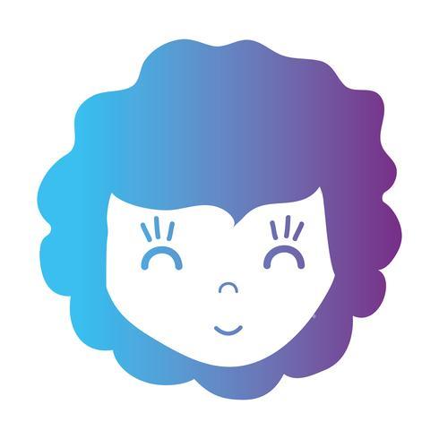 línea niña cabeza con diseño de peinado