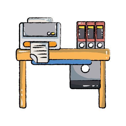 Escritorio de madera de la oficina del doodle con impresora y libros