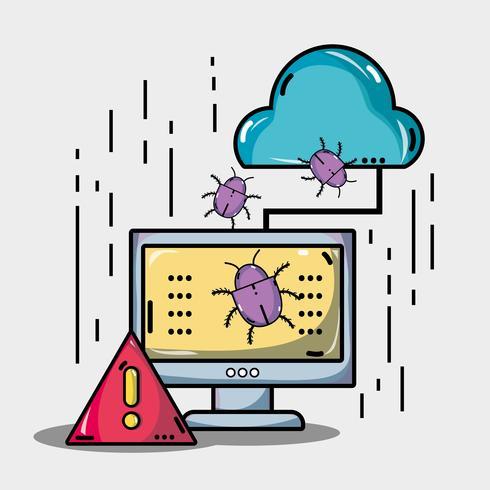 ordinateur avec virus dans les informations système