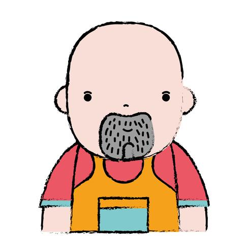 doodle man plumber job to service repair vector
