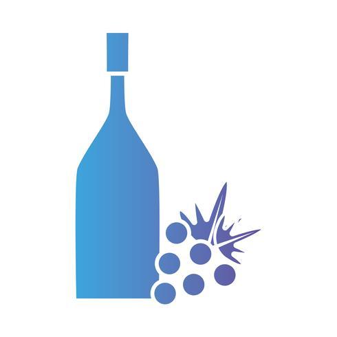 Línea botella de vino con fruta de uva.