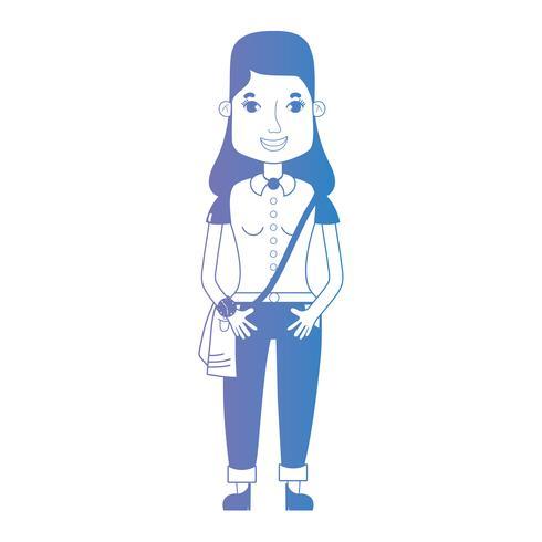 mulher de avatar de linha com penteado e roupas