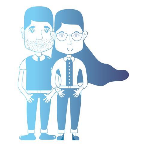 casal de avatar de linha com penteado e roupas