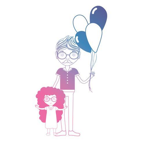 Línea padre con su hija y diseño de globos.