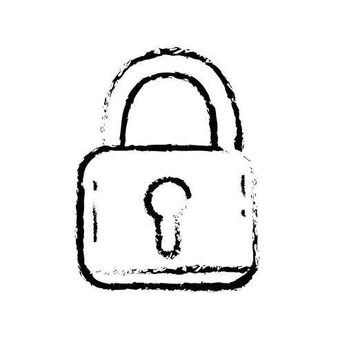 Figura objeto de protección de seguridad candado a información de privacidad