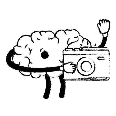 figure kawaii cerveau heureux avec appareil photo numérique