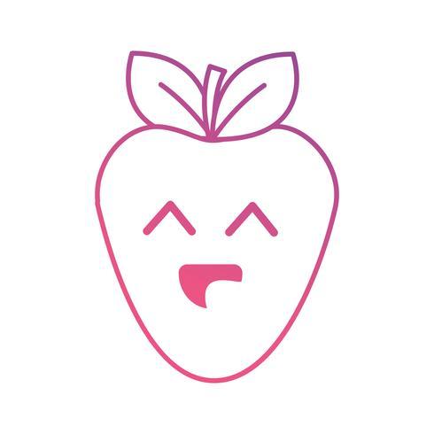 line kawaii söt glad jordgubbsfrukt