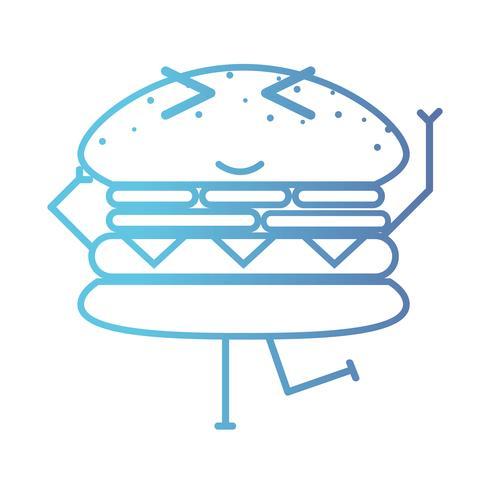 linea kawaii cute happy hamburger fastfood