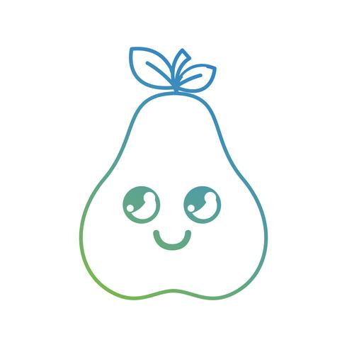 lijn kawaii schattig gelukkig perenfruit