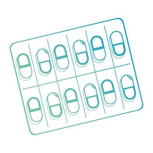 tratamiento de pastillas farmacéuticas médicas de línea vector