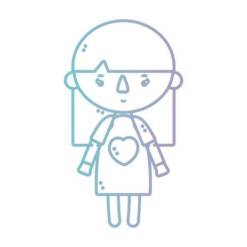 linea ragazza con abito e design acconciatura