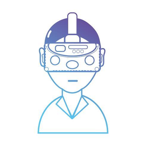Linie Junge mit Brillentechnologie der Maske 3d
