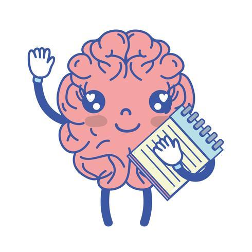 Kawaii cervello felice con lo strumento taccuino