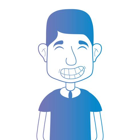 line avatar man with hairstyle and t-shirt