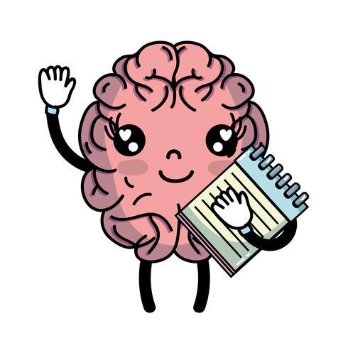 cérebro kawaii feliz com ferramenta de caderno
