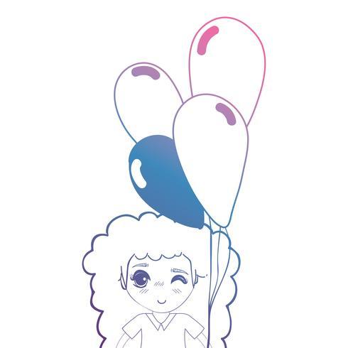 linea ragazza con acconciatura e palloncini in mano