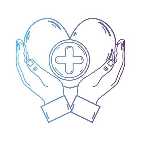 Línea manos con el símbolo de la medicina del corazón para ayudar a la gente vector