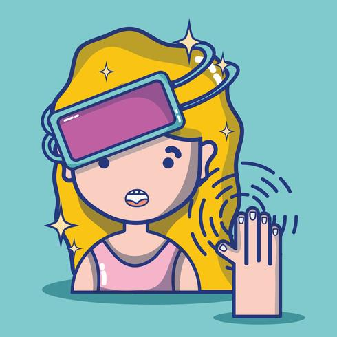 girl with 3d glasses technology to virtual reality vector