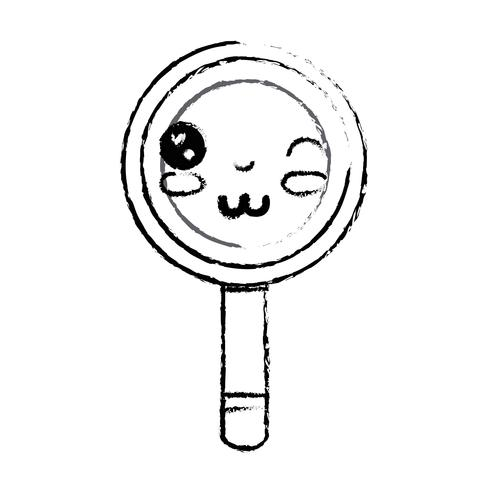 figura kawaii simpatica lente d'ingrandimento divertente