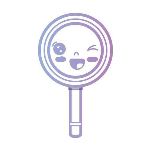 line kawaii cute funny magnifying glass