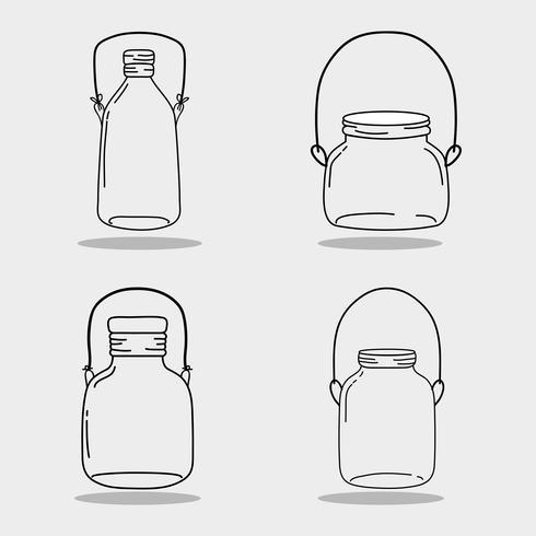 uppsättning burk murare glas med olika former