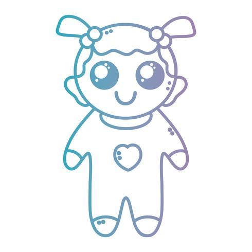 línea linda niña con pijama y peinado