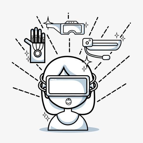 fille avec la technologie des lunettes 3d à la réalité virtuelle