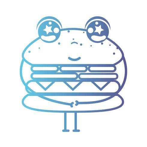 line kawaii cute happy hamburger fastfood