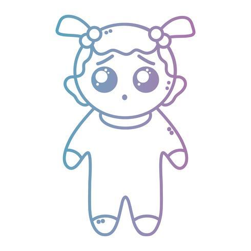 linje trevlig flicka med pijama och frisyr