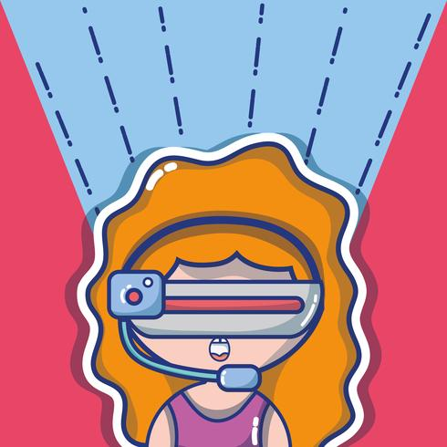 menina com tecnologia de óculos 3d para realidade virtual