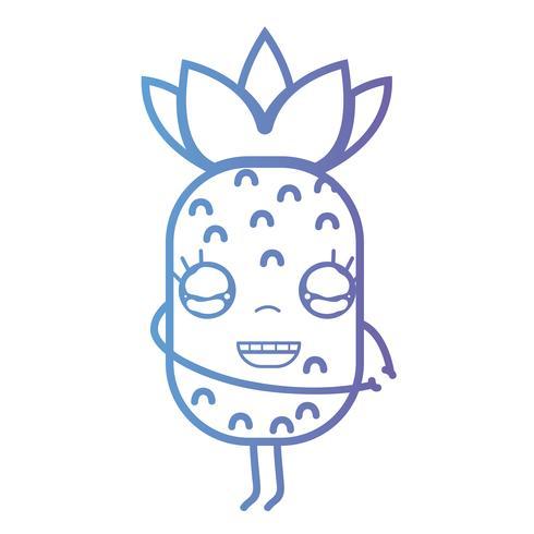 línea kawaii lindo feliz piña fruta vector