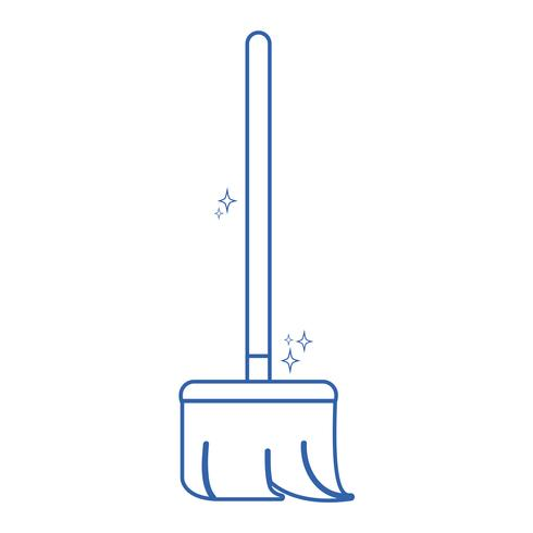 line broom sweep equipment to clean house vector