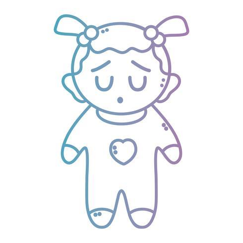 linea bella bambina con pijama e acconciatura