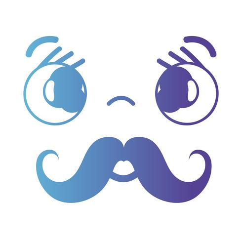 line kawaii cute tender face with mustache