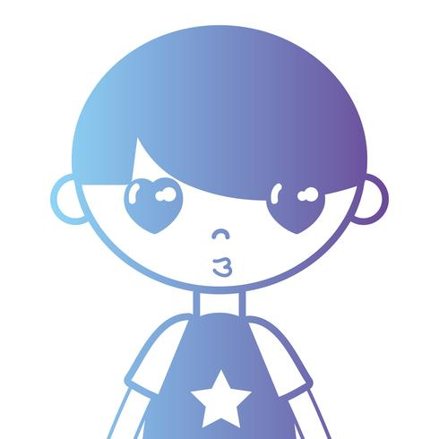 silhouette boy with t-shirt and hairstyle design