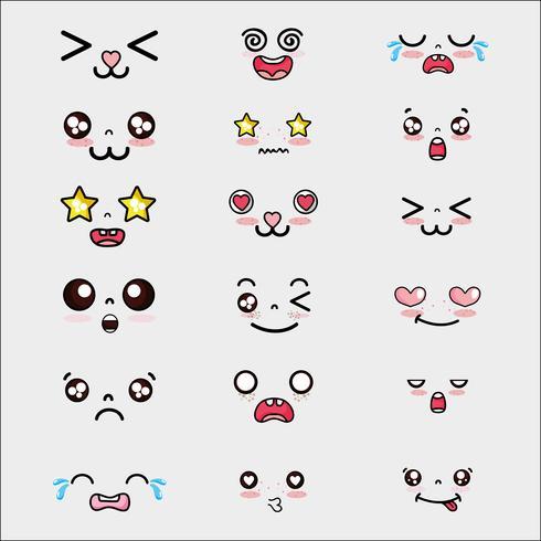 kawaii schattige gezichten expressie instellen