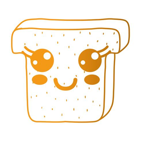 line kawaii cute happy slice bread