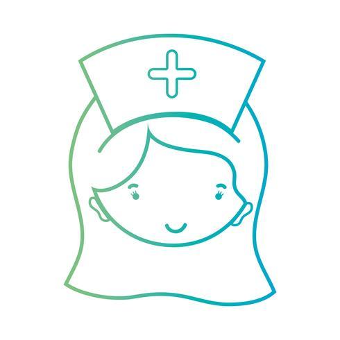 linje kvinna sjuksköterska huvud med frisyr design