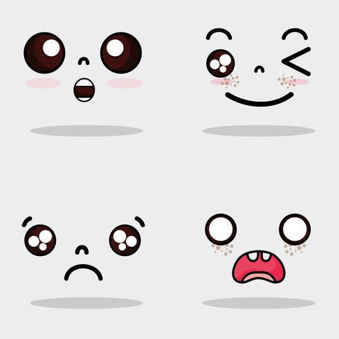 impostare l'espressione di facce carine kawaii