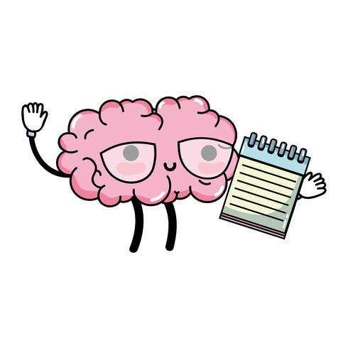 kawaii lycklig hjärna med notebook-verktyg
