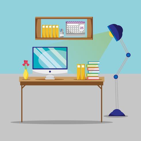 appartamento con scrivania e accessori da lavoro