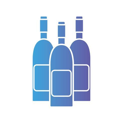 Linie Weinflaschen zum Feiergetränk