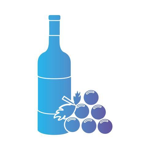 lijn wijnfles met druivenfruit