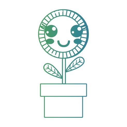 linha kawaii bonito feliz planta de girassol vetor