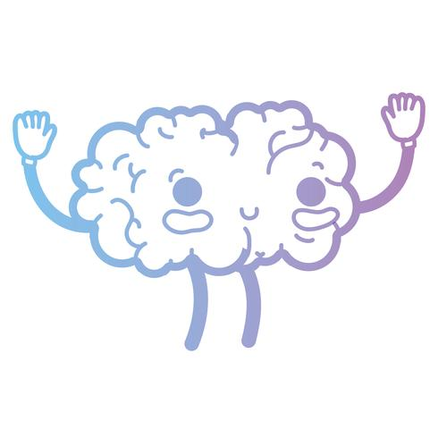 ligne kawaii mignon cerveau heureux avec les bras et les jambes