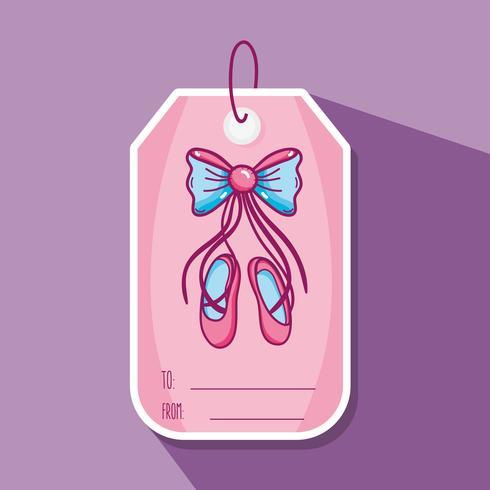 Etiqueta de decoración con diseño de ballet artístico. vector