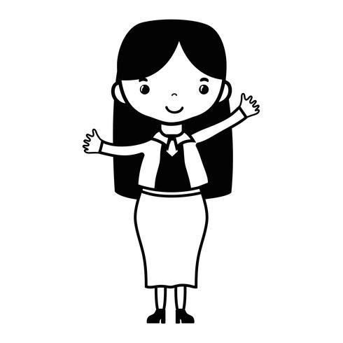 contorno mulher com penteado e design de roupas elegantes