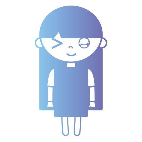 silhouet meisje met jurk en kapselontwerp