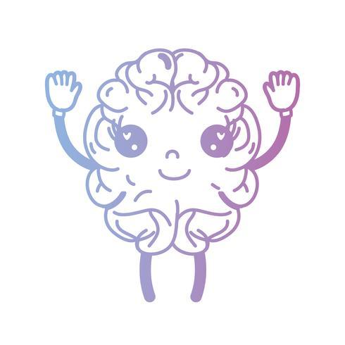 linea kawaii simpatico cervello felice con braccia e gambe
