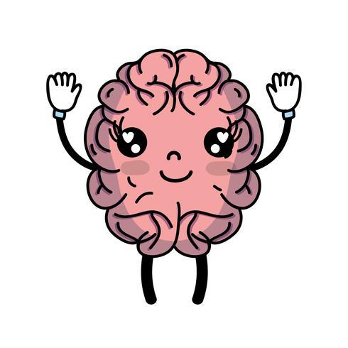 kawaii cute happy brain with arms and legs
